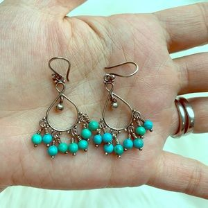 Sterling Silver and Genuine Turquoise Earrings